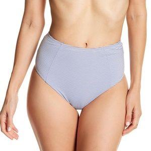 Onia Leah Textured Stripe Cobalt Bikini Bottom